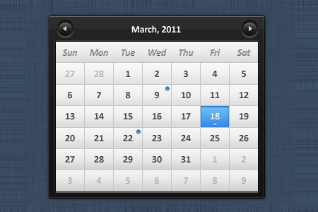 20 Creative Website Calendar PSD Templates for Free