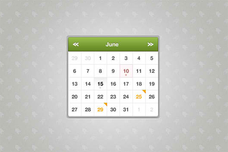 Sexy Website Calendar PSD Templates