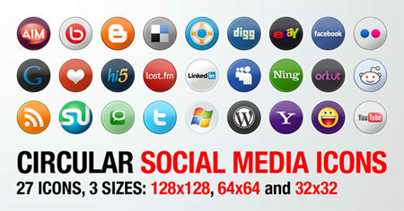 27 Circular Social Media Icons in 3 Sizes