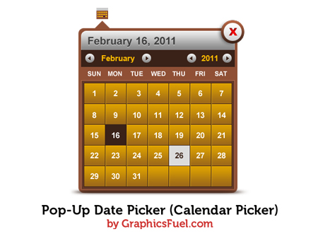 Pop-up date picker (Calendar Picker) PSD