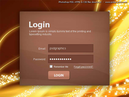 Login Box PSD Template