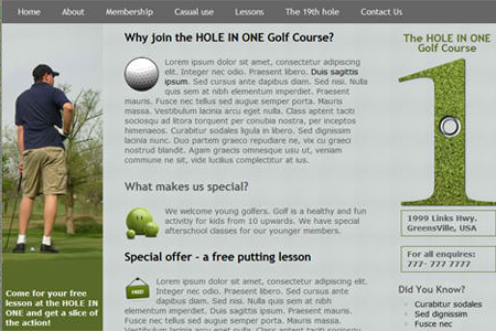 The Hole In One HTML5 and CSS3 Template