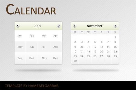 Website Calendar PSD Templates