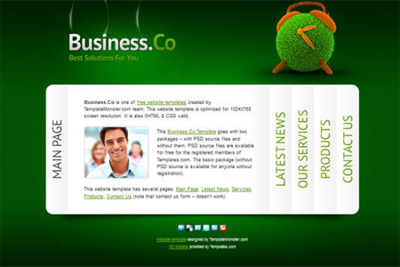 Free Business Website Template with Accordion Navigation