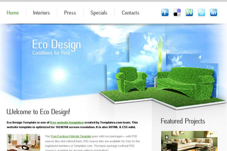 Free Furniture Website Template for Eco Design Company