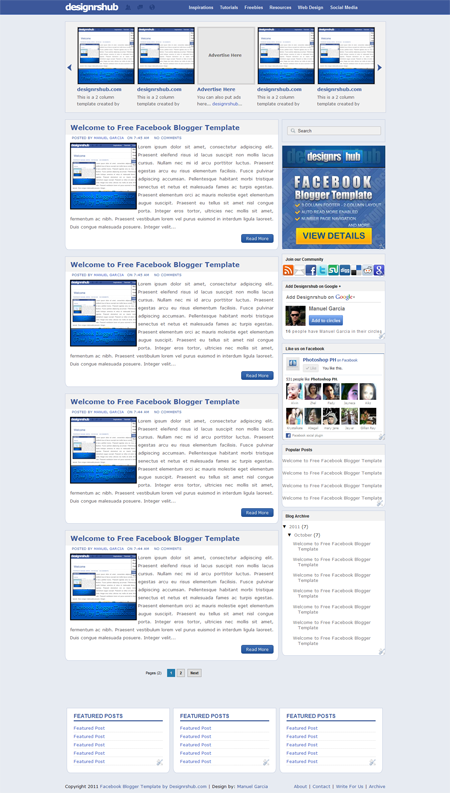 Free Facebook Blogger Template by Designrshub.com