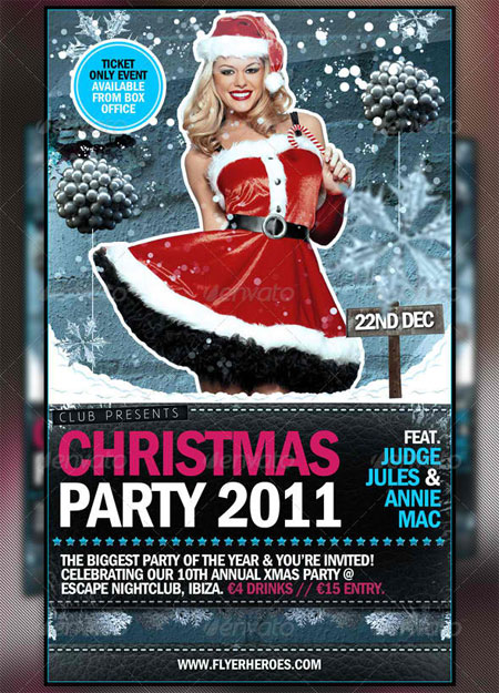 Wintery Christmas & New Years Eve PSD Party Flyer