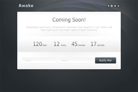 Awake Coming Soon Template Layered PSDs