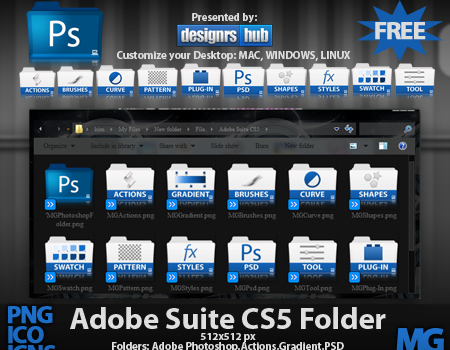 Free Set of Adobe Photoshop Suite CS5 Folder Icons