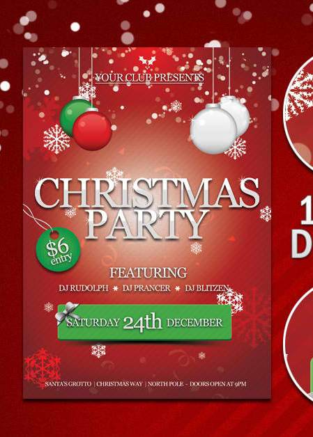 Free party flyer template with psd set 3 for Free christmas brochure templates