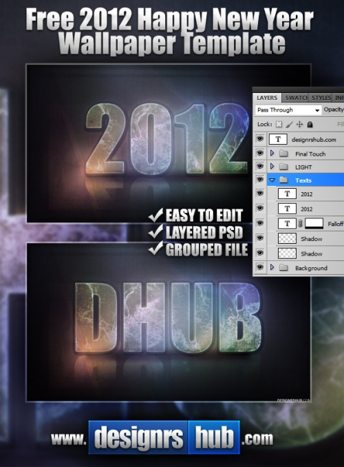 2012 Happy New Year Wallpaper PSD Template Preview