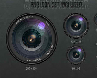 Realistic Camera Lens Icons