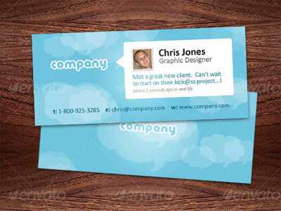 Mini Designer Business Cards - Twitter Style