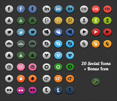Rounded Social Media Icons 3D