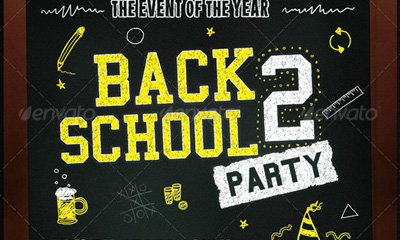 Back 2 School Party - Flyer