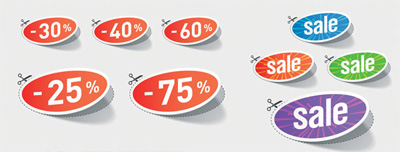 5 Sets of Free Nice discount Sales Sticker Vector