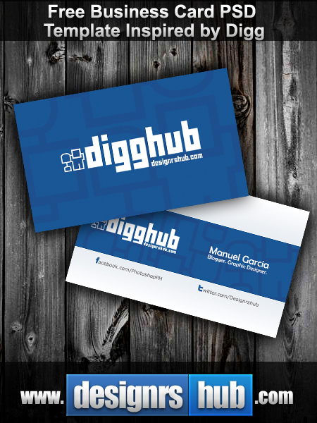 Preview of Free Business Card PSD Template Inspired by Digg