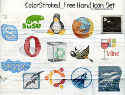 Free Hand Color Stroked Icon Set