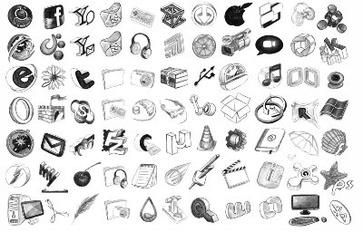 124 Hand-made Icons (Drawn with a black pen)