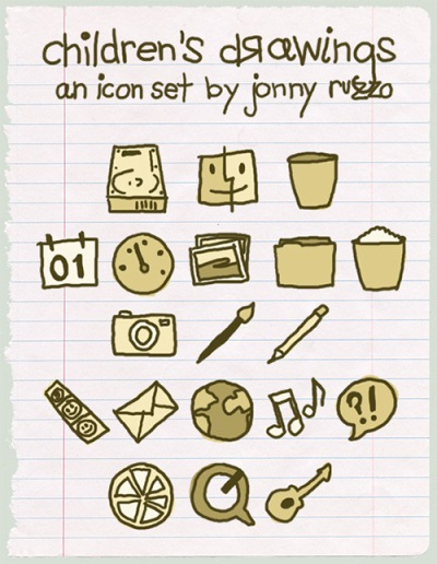 Children's Drawing Icon Set
