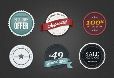 Free Premium Looking Web Badges PSD Templates