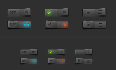 More Dark Switches PSD Templates