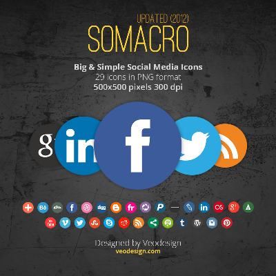 Somacro: 29 300DPI Social Media Icons