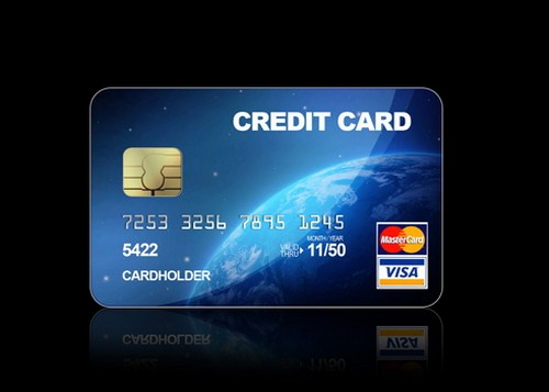 Blue Credit Cards PSD File