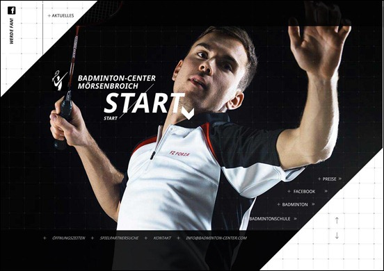 Diagonal Website Design: Badminton-center