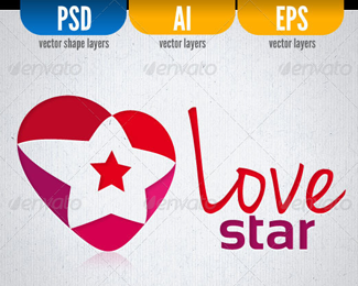 Love Star Logo Template