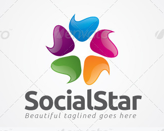 Social Star Logo Template