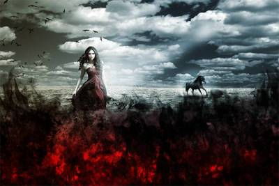 Create an Artistic Photo Manipulation of a Girl in a Red Field
