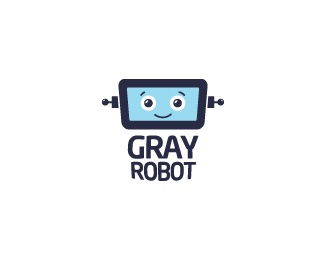 Gray Robot Logo Design