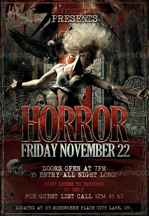 More Horror Flyer Templates For Halloween Party