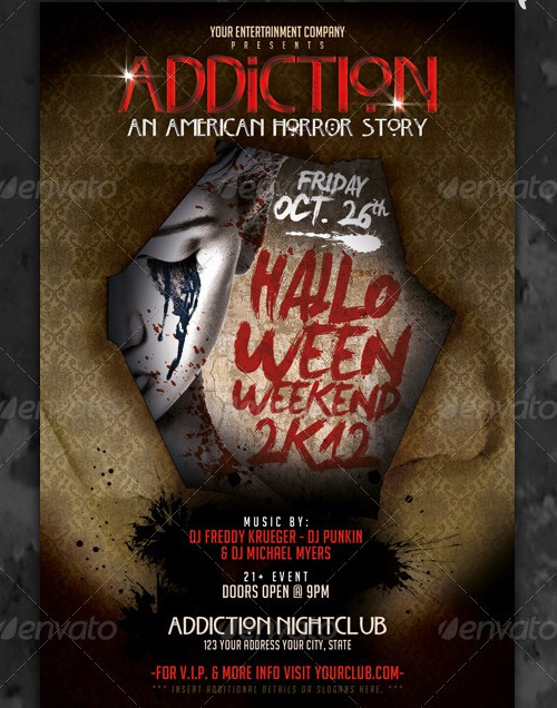 Horror Story Halloween Party Flyer Template