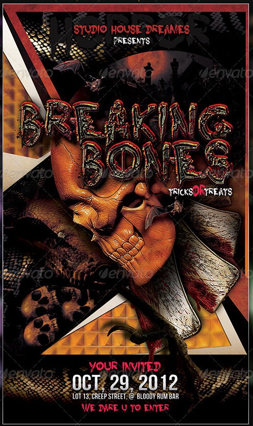 Breaking Bones Horror Party Flyer