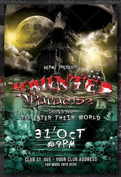 Halloween Haunted Paradise Flyer Template