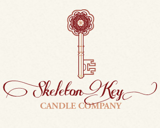 Skeleton Key Candle Logo Design