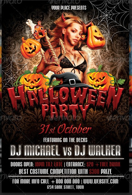 20 halloween flyer templates for halloween party events for Free halloween flyer templates
