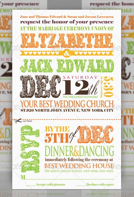 Wedding Invitation Typography - Orange