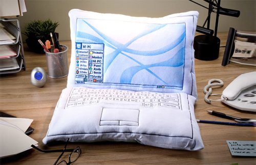 White Laptop Pillow