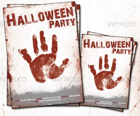 Blood Handprint Halloween Poster Template