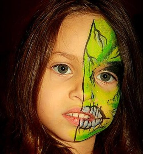 Green Halloween Face Painting Ideas for Kids