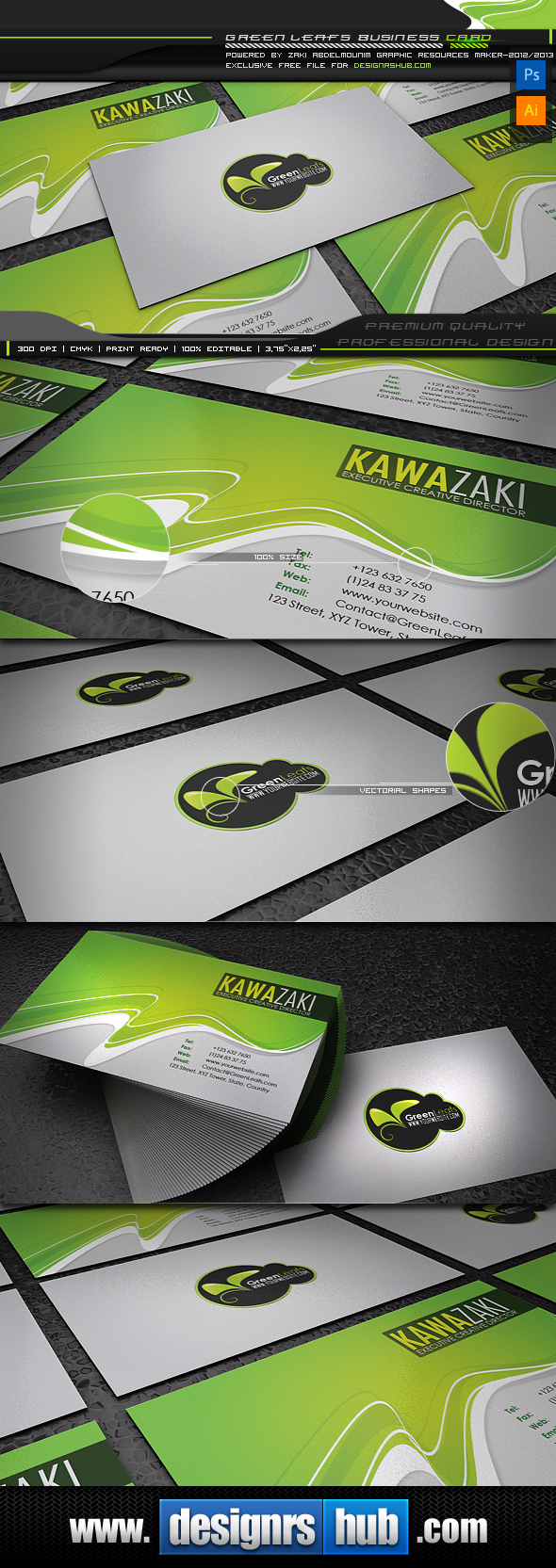 Green Leaf: Free Green Business Card Template