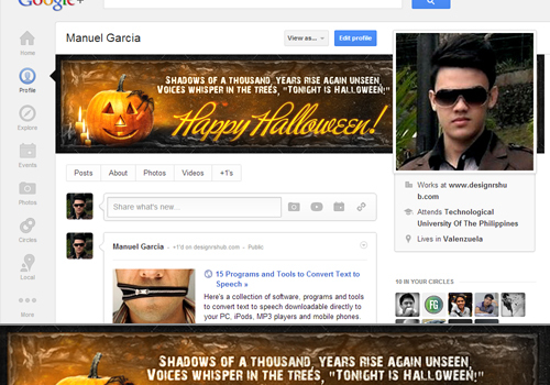 Free Halloween Google+ Cover Template (PSD)