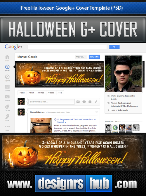 Download Free Halloween Google+ Cover Template PSD