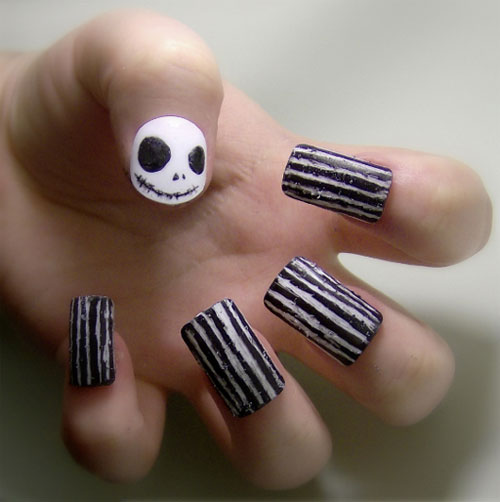25 creepy examples of halloween nail art designs jack prinsesfo Choice Image