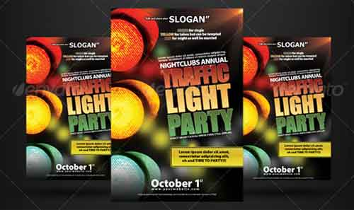 Traffic Light Party Nightclub Flyer Designs