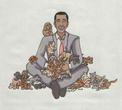Barack Obama picks a puppy