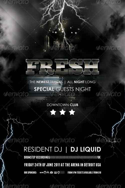 Lightning Music Nightclub Flyer Designs